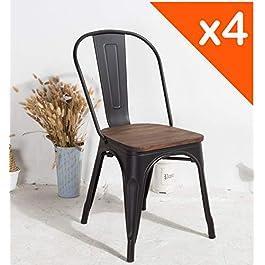 Kosmi – Lot de 4 chaises en métal Noir Mat avec Assise en Bois Massif foncé, pour Une décoration Style Industriel