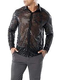 Camisas Hombre Moda ❤️AIMEE7 Camisa Calada De Moda Hombre cdb58e01b41