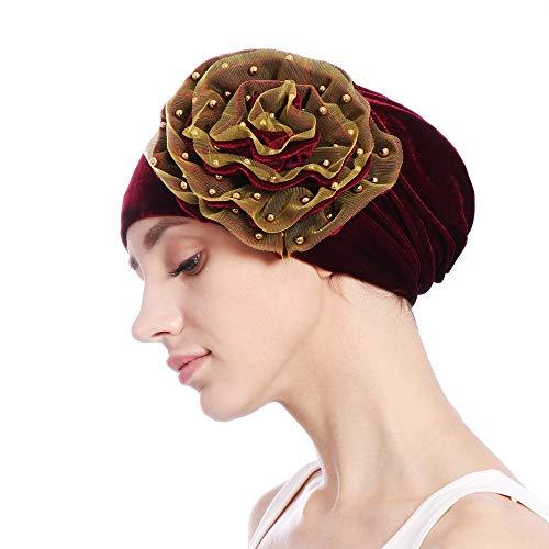 Auiyut Frauen Beanie Hat Elastische Weiche Große Blume Chemo Cap Indien Muslim Stretch Turban Hut Elegant Hijab Schal Headwrap Kopfbedeckung Muslimischer Bandana Chemo Cap Stirnband Schal