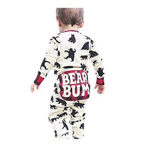 Dtuta Bekleidungssets FüR Baby-Jungen Long Sleeve Cartoon Bear Plaid Print Round Neck Jumpsuit Crawling Suit Stretch Creative Button Comfortable Soft