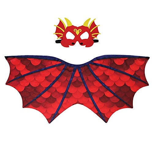 TTXLY Halloween Dinosaurier Flügel Mantel Flugsaurier Chiffon Elegante Wing Show Requisiten Coole Kids Party Show Kostüm Halloween Party Bevorzugte Requisiten (Mantel + Maske),B (Coole Kostüm Für Kids)