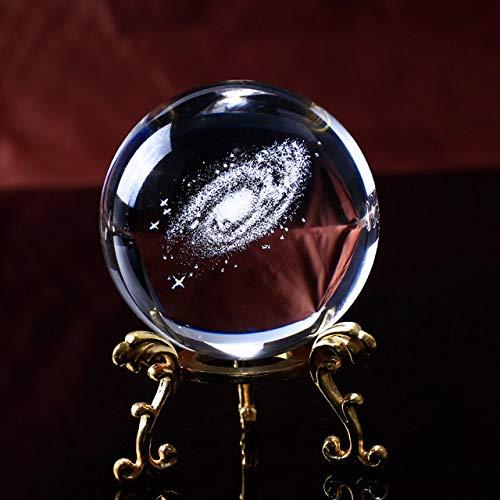 chenxing Home Dekoration Laser Graviert Galaxy Glas Kugel Kristall Miniaturen Junge Geschenke Kugel Zubehör Globus Universum Vorhanden 60mmBall-Gold-Basis