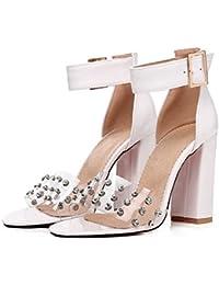 Tacon es Zapatos Blancas Mujer 45 De Amazon Sandalias Para I2HYWDE9