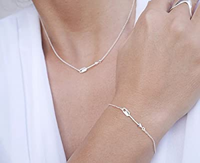 Parure de bijoux argent - collier + bracelet flèche argent 925 - bijoux flèche cupidon amour - chaîne argent - pendentif flèche - bijoux boho - empilable