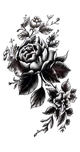 EROSPA® Tattoo-Bogen temporär / Sticker - Schwarze Rose - Wasserfest (Rose Temporäre Tattoo)