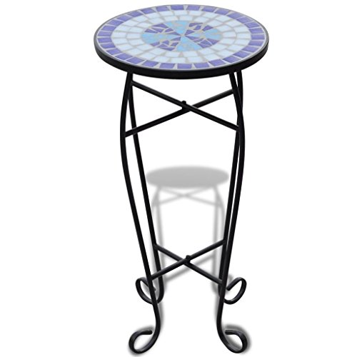 vidaXL Table d'Appoint Motif Mosaïque Bleu et Blanc Support Plantes Table Bout