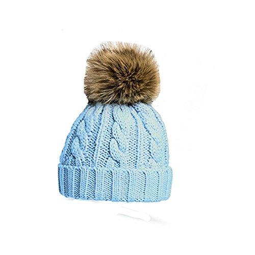 Strick Kabel Bommel Mütze mit abnehmbarem Waschbär Pelz Pom Pom Baby (Waschbär Hats)