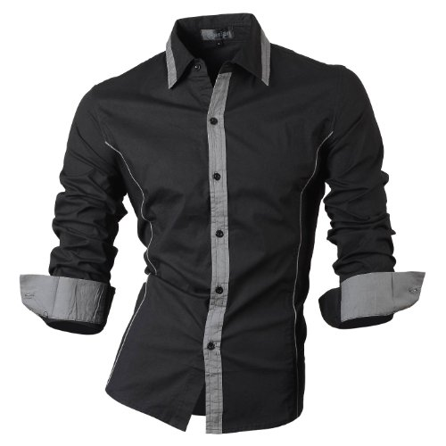 jeansian Herren Freizeit Hemden Shirt Tops Mode Langarmshirts Slim Fit 8015 Black