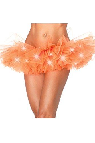 Frauen Mit Mini - Rock Mit Led - Leuchten Tutu Schichten Tüll - Kostüm - Party Tanzen Orange XL