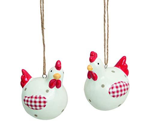 Huhn Henne 2 Stück Figur aus Keramik weiß rot Hänger zum Aufhängen Vintage Ostern Osterdeko Dekoration Osterhuhn 7 cm hoch