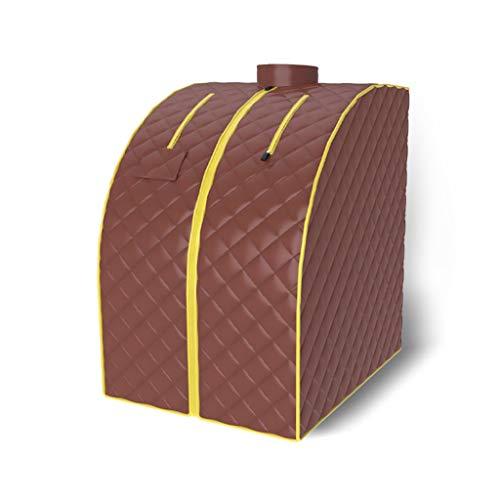 SUN HUIJIE Dampfsauna Far Infrared tragbare Sauna Spa Room Kabel-Fernbedienung mit Klappstuhl Timer & Temperaturkontrolle Abnehmen Detox (Color : Coffee)