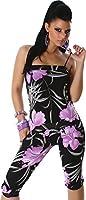 Overall Jumpsuit Neckholder 3/4 Capri unifarben und Blumenmuster Einheitsgröße S-M