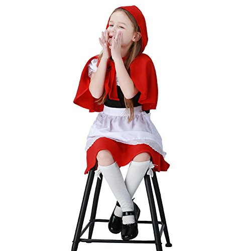 Hallowmax Mädchenbekleidung Rotkäppchen-Kostüm Little Red Riding Hood Cosplay Halloween Karneval (Little Red Riding Hood Kostüm Für Mädchen)