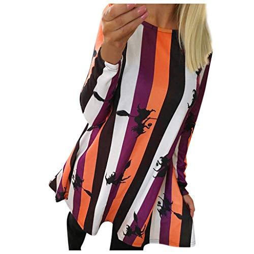 KPPONG Halloween Kostüm Damen Rundkragen Teufel Streifen Themenkleid Lange Sweatshirt Cosplay Pullover - Super Coole Selbstgemachte Kostüm