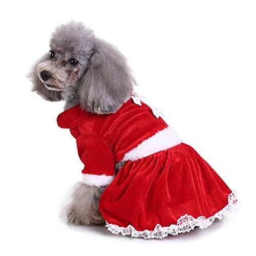 8Eninide Weihnachtsserie Haustier Hund Kleidung Weihnachtskostüm niedliche Cartoon-Kleidung Kleid rot