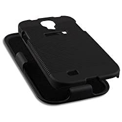 Naztech 12490 DoubleUp Shell and Holster Combo Case for Samsung Galaxy S 4-1 Pack - Retail Packaging - Black