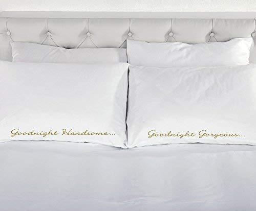 Goodnight Handsome Goodnight superbe or blanc avec taie d'oreiller paire de taies d'oreiller de mariage cadeau de Noël romantique Parure de lit Valentin Couples taies d'oreiller