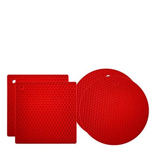 (Premium Silikon-Untersetzer: 4 Mehrzweck-Topf-Halter, Ofenhandschuhe, Hot Pads, vielseitig einsetzbar, hitzebeständig, rutschfester Glasöffner, Greifunterlage, Knoblauchschäler, Trocknungsmatte - Rot)