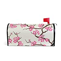 ALARGE Magnetic Mailbox Cover, Japanese Cherry Blossom Flower Mailbox Wrap Home Decor Art Post Letter Box Cover