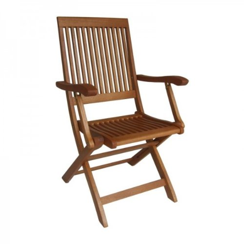 Glitzs lot de 2 chaise pliante de jardin avec accoudoirs en bois dur huilé bankirai