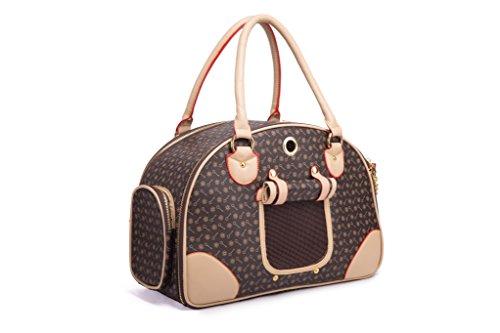 BEST IN DE Groß Transporttasche Hundetasche Katzentasche Tragetasche für 2-4KG Hunde und Katzen Hundebox Chihuahua 42cm*29cm*18cm (Weiß) (Brown)
