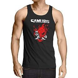 A.N.T. Another Nerd T-Shirt A.N.T. Cyberpunk Samurai Camiseta de Tirantes para Hombre Tank Top silverhand Johnny Band, Talla:M