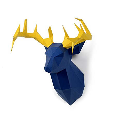 Timorn DIY Vorgeschnittenes Papercraft Assembly Kit 3D Wand Hirsch Head Trophy (Hirsch)