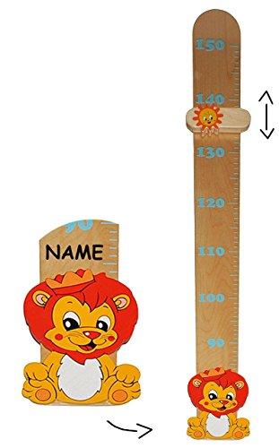 Meßlatte - aus massiven Holz - Löwe incl. Name - Messbereich von 80 cm bis 150 cm / für Kinder - Messlatte Kindermeßlatte Meßleiste Mädchen Jungen Löwen Zootier - Kinderzimmer Holzmeßlatte Kind Tier Tiere