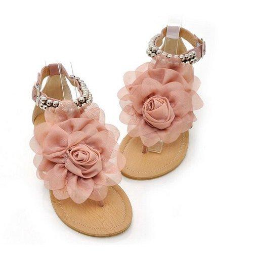 TOOGOO(R) Sandali per gladiatori per donne Floreale a fiori in rilievo femminile Flat Flat Flop Flop Scarpe Donna Bohemia Sandali beige Dimensione 4 Rosa