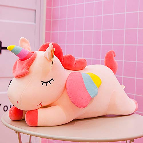 Cute Unicorn Doll Plush Puppen Kinder Puppe Kissen Kinder Tag Mädchen Heart Tanabata Geschenk 65 cm (1,2 kg) Lying Angel Unicorn Pink