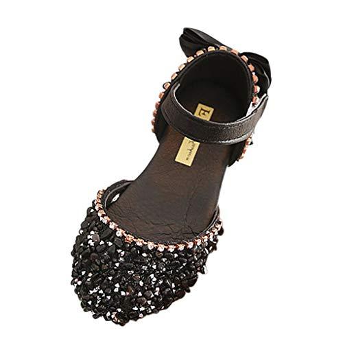 Prinzessin Sandalen für Baby Mädchen,Dorical Kleinkind Tanzschuhe Schuhe Kinderschuhe Mädchen Bowknot Kristall Lauflernschuhe Mädchen Show Schuhe Freizeitschuhe(Schwarz,8Jahre)