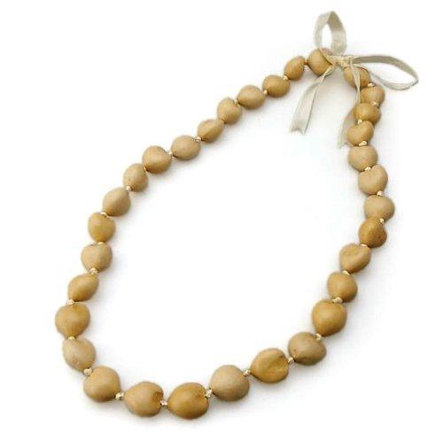 Hawaiian Style Kukui Nut Lei White 32 Nuts by K Chang