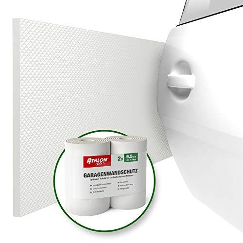 ATHLON TOOLS Weißer Premium Garagen-Wandschutz | je 2 m lang | Extra Dicker Auto Türkantenschutz | Selbstklebend | Wasserabweisend | 2er Set