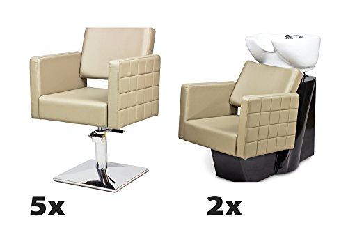 Kit mobili per parrucchieri cubo 5 x poltrona parrucchiere + 2 x lavaggio parrucchiere 100 colori tappezzeria