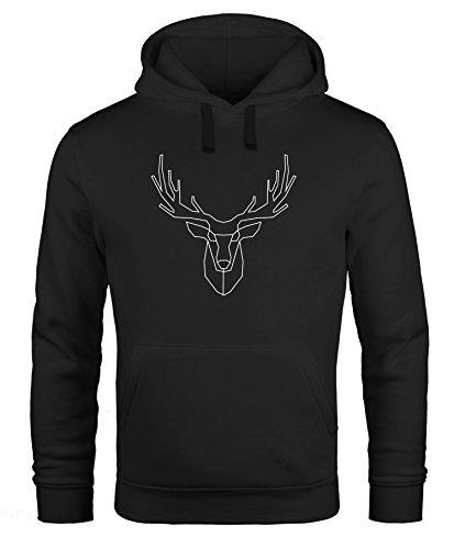 Neverless Hoodie Herren Hirsch Polygon Geweih Geometrisch Formen Sweatshirt Kapuze Kapuzenpullover schwarz M