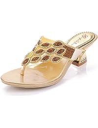 Damenschuhe Glitzer/Leder Sommer Club Schuhe Sandalen Hausschuhe & Flip-Flops Keilabsatz Strass für Party & Abend/Kleid (Farbe : Ein, Größe : 37) Huan