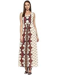Taurus Women's Georgette Ivory Floreat Maxi Dress