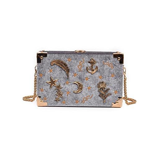 2018 Frauen Mode Klein Gold Kette Schultertasche Samt Stickerei Box Tasche Mini Cross Body Clutch Klassisch Abendtasche (19 * 12 * 5cm),Gray-19 * 12 * 5cm