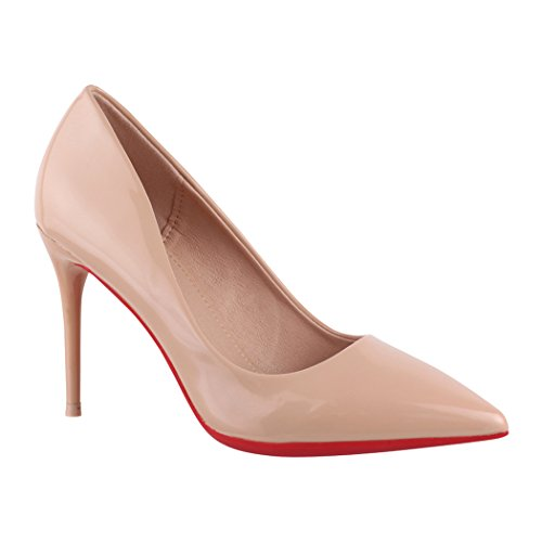 Elara Spitze Damen Pumps | Bequeme Lack Stilettos | Elegante High Heels | chunkyrayan JA70-Nude-39