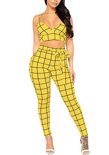 Voghtic Damen Plaid Print Crop Top hohe Taille Hosen 2 Stück Outfits Overall