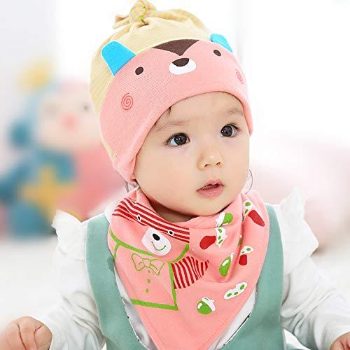 ChildHat 2018 Hut für Kinder,Baby Speicheltuch Baby Hut Männer und Frauen Baby Kind Hut Neugeborenes Baby Set 2 Sätze, Bär - rosa Anzug, empfohlen 0-2 Jahre alte Kinder