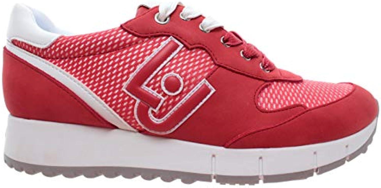 Liu Jo Milano Red Gigi 02 Running Cow Suede Mesh Red Milano Rouge Chaussures Femmes Sneaker 02c856