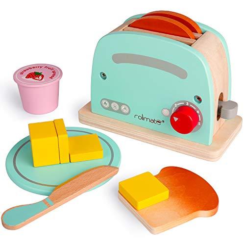 Rolimate Holz Toaster Spielzeug,Küchenspielzeug für Kinder,Kochen Koch Rollenspiele Pädagogisches Lernen Spielzeug,Weihnacht Geschenk für Kinder ab 3 Jahre