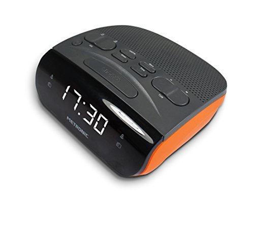 Metronic 477034 Radiowecker Duo Colors LED Anzeige Orange/Schwarz