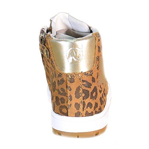 Naturino - Naturino Scarpe Sportive Bambina Marroni Leopardate Pelle Lacci Zip 482 Marrone