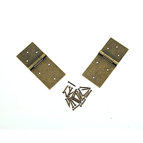 Hinges and Screws, Heavy Duty Vintage Solid Brass Hinges, Antique Hinge Connectors for Door Kitchen Cabinet Gate Toy Box Wardrobe Decorative Replacement, 2 Pack, Bronze, Small 8.3*4cm