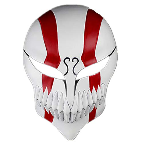 K-Y YK Halloween Masquerade Anime Death Bleach Resin Mask Kurosaki Cosplay Mask Decoration Gift (Double Red)