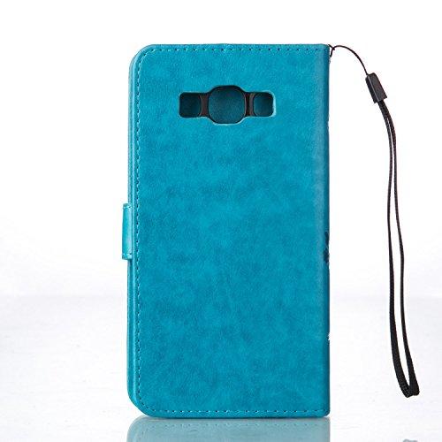 Custodia Samsung Galaxy J7 (2016), Sunroyal® Custodia in Pelle, in Piedi la Vista Diario Custodia Copertura di Vibrazione Portafoglio Flip Cover con Chiusura Magnetica per Samsung Galaxy J7 (2016) SM- Blu