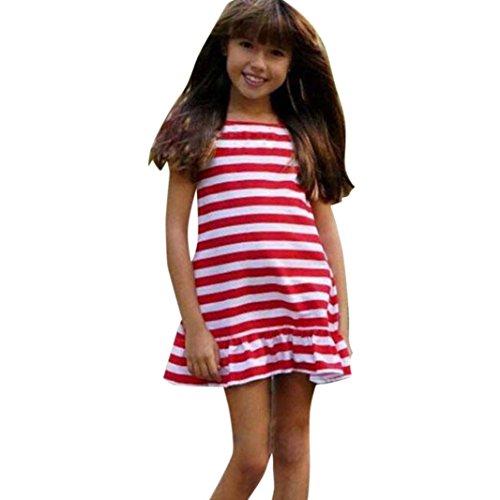 Huhu833 Mom & Me Baby Kind Mädchen/Women Stripe Print Sommerkleid Schlank Minikleid Familie Kleidung (Baby, 4T-110CM)