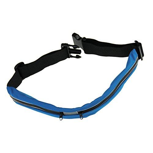 BXT Außen Universelle leichte wasserdichte elastisches Gewebe Taille verpackt Gurt für Handy (Zwei Taschen) Blau